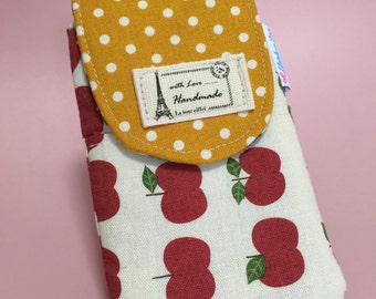 Iphone pouch with flap - linen red apples
