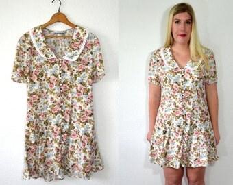 20 DOLLAR SUPER SALE! White Floral Dress Large- Peter Pan Dress - Little White Dress - Pink Floral Dress