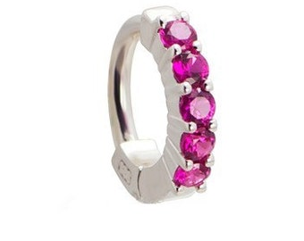 Bright Pink 5 Stone Sterling Silver Belly Button Ring Exclusively By TummyToys (64022)
