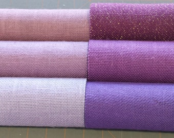5 inch LAVENDER VIOLET or PURPLE Burlap Ribbon -  3  yards