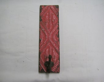 PINK Tin Ceiling tile Coat Hat Rack New York Salvage 1 one Hook S2198-14