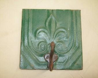 8x8 GREEN Fleur de lis Tin Ceiling Tile Coat Hat Rack New York Salvage 1 one Hook S2206-14