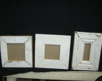 Shabby Architectural Salvaged SMALL TRIO Reclaimed White Wood Photo Picture Frame S2282-14