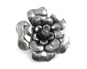 Single Large 3-Layered Flattened Tea Rose with Black Czech Glass Bead Accent in Antiqued Silver - 40mm