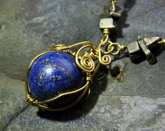 Lapis Lazuli Sphere Pendant Necklace - Iron Pyrite Gemstones Wire Wrapped with Blue Healing Crystal Ball, Nickel Free Brass, DoodlepunkArt