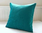 accent peacock blue pillow cover  turquoise cushion cover 20 inch