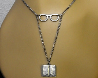 Glasses Book Necklace Reader Bookish Literary Themed Bibliophile Jewelry