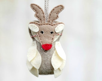 Red Nosed Reindeer Felt Christmas Ornament, Masked Owl Plush, Rudolph Owl, Modular Kid Friendly Ornament by OrdinaryMommy