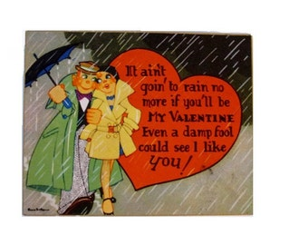 Vintage Volland art deco Valentine - 1920s - Flapper and boyfriend - Umbrella - Rain
