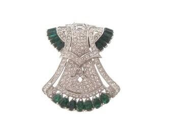 Emerald Art Deco Vintage Brooch, Coro Designer Dress Clip, 1919 Antique  Bridal Art Deco Jewelry, Wedding Jewlery