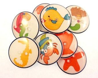"8 Mermaid Buttons.  Decorative Novelty Handmade Buttons.  Children's Seashore Themed Craft or Clothing Buttons. 3/4"" or 20 mm."