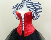 """Red Lace Up Front Overbust Corset-to fit 35-38"""" natural waist"""