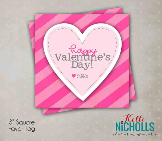 Printable Valentine's Day Card Tag Template - Instant Download