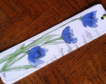 Watercolor Bookmark of Blue Poppies
