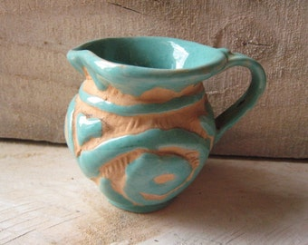 Vintage Mid century PV  Peasant Valley Sgraffito Italian  Pitcher