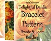 Peyote Patterns Stitch and Loom Beading Bracelet Pattern with Word Chart Bead Weaving Graph Flowers Orange Dahlia