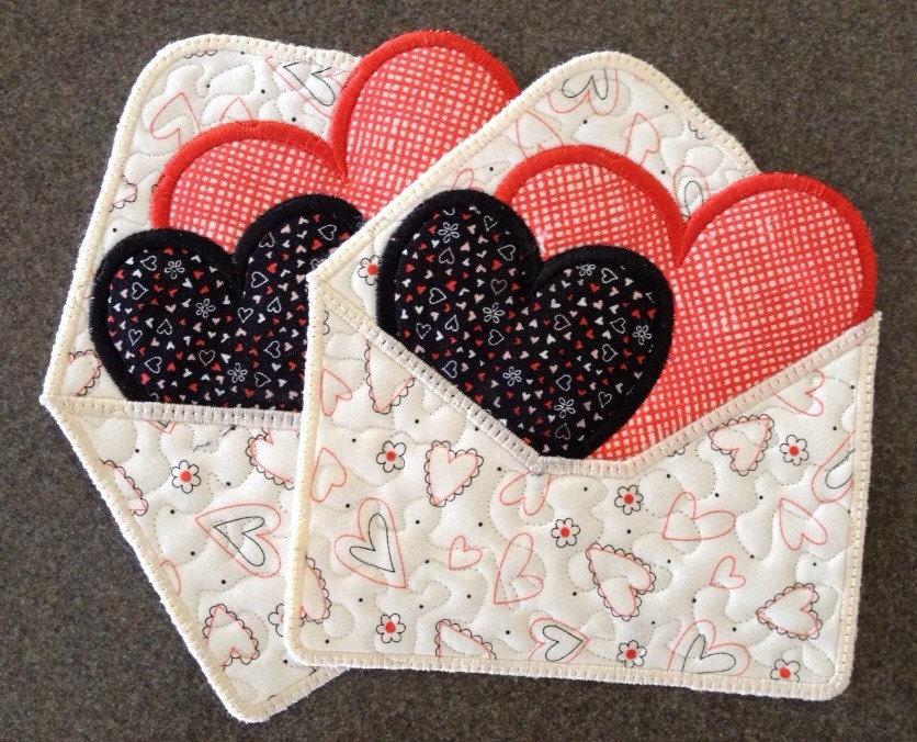 Valentine Mug Rugs Loveletters Appliquedesign