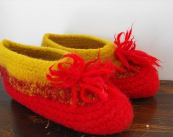 Wool Felted Hand Knit Slippers for Warm Winter Women