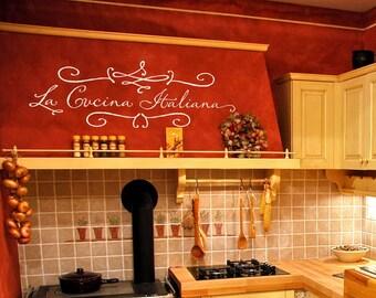 "Kitchen Wall Decal ""La Cucina Italiana"" (The Italian Kitchen) Vinyl Lettering Wall Sticker"