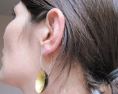 Gold Disk Dangles, Design jewelry, Gold Leaf Dangles, Contemporary Earrings