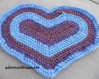 Bluesy Heart crocheted heart shape rag rug, eco friendly, washable, bath mat, durable, purple, sky blue, girls bedroom, kitchen, home decor