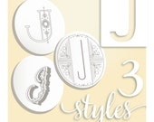 Embroidery Pattern. Modern Monograms Letter J hand embroidery patterns in three styles Alphabet Letter embroidery designs by SeptemberHouse