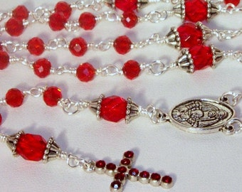 Ruby Crystal and Silver Rosary - Made to Order - Choice of Colors - Pick Your Cross & Connector