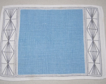 Vintage Place Mats Set of 2 Groovy Blue Geometric