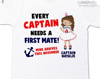 captain first mate big sister shirt - nautical theme pregnancy announcement Tshirt
