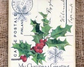 Christmas Holly Berry Postcard Tags #697