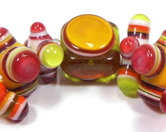 Citrus Summer Block Party Handmade Lampwork Glass Beads