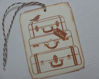 Travel tags, stacked luggage, hand stamped, vintage style, suitcases, bon voyage party favor tags, french, paris themed - set of 6