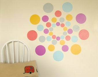 Turkish delight coloured dots wall decals – fabric wall stickers