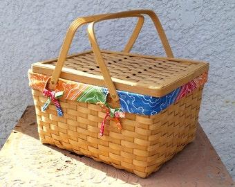 Vintage Wood Slat Picnic Basket,  with Colorful Bandana Print Cotton Removable Lining