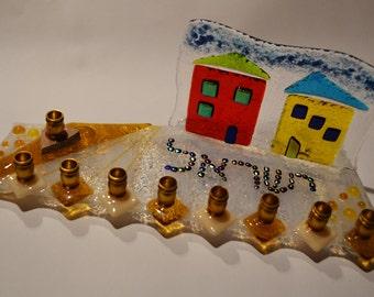 Wedding shards custom upright glass menorah by YafitGlass