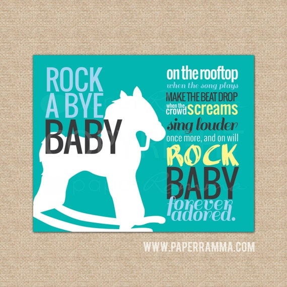 Rock n roll baby boy wall art nursery artwork baby by for Rock n roll baby crib set