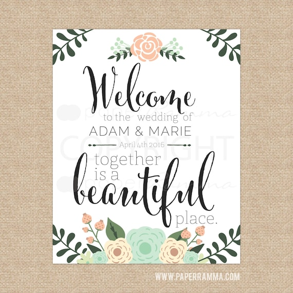 Welcome To Our Wedding Sign Wedding Entrance Sign Unique