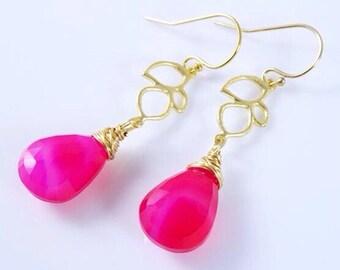 Hot Pink earrings, wire wrapped gemstone earrings, Bridesmaid gifts, wedding jewelry, bridal jewelry, bridesmaid earrings, custom colors