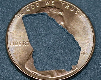 Lucky penny with Georgia cut out
