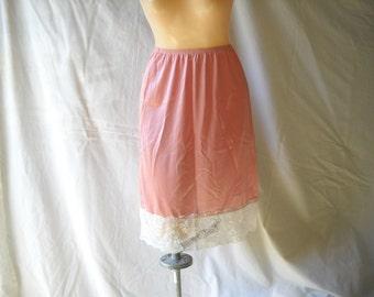 Vintage Slip Rose Pink Slip Vintage Lingerie Vintage Half Slip