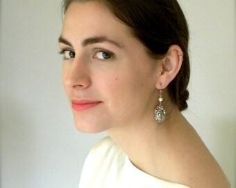 Pearl Earrings, Marie Antoinette Style, Bridal Earrings, Pearl and Cameo Earrings, Cameo Earrings, Silver Cameo, Wedding Earrings