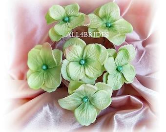 Pastel Green Hair Flowers, Hydrangea Hair Pins, bridal or bridesmaids