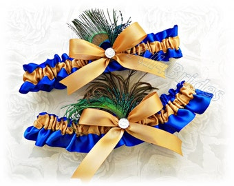 Peacock wedding garters - royal blue and gold peacock feather garter set - something blue.