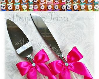 Wedding cake cutting set, cake server and knife, satin ribbon custom colors,  Wedding Table Settings