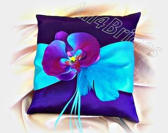 Purple and turquoise wedding ring bearer pillow, purple and blue orchid wedding pillow, ring cushion