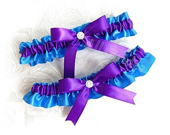 Wedding bridal garter set - regency purple and turquoise - Prom satin garters -  something blue bridal accessories