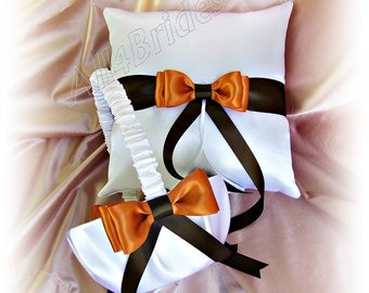 Ring pillow and flower girl basket, weddings, burnt orange and chocolate brown wedding ceremony accessories