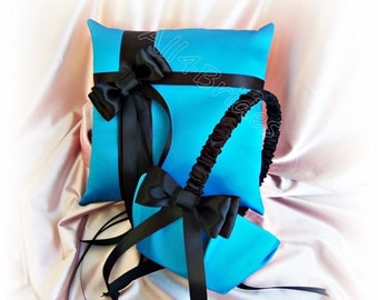 Turquoise and black weddings ring pillow and flower girl basket, wedding ring cushion and basket set