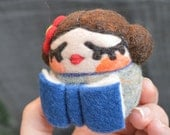 Bookworm Reader WOOLY Egg Doll Made to Order