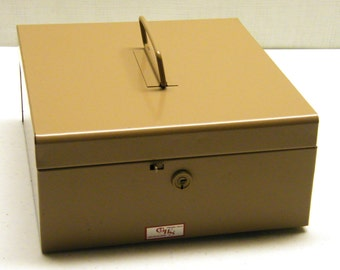Vintage Lockable Metal File Box